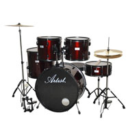 Artist ADR522 5-Piece Drum Kit + Cymbals & Stool-Red