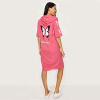 Dark Blossom Back & Sleeve Print Short Sleeve Hoodie Dress