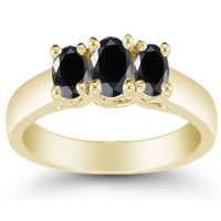 Cart Three Stone Black Diamond Ring