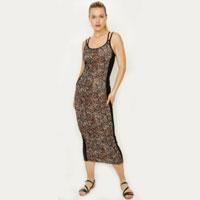 Multi Animal Side Block Maxi Dress