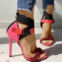 Colorblock Bandage Push Buckle Thin Heeled Sandals