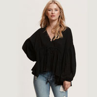 Billow Sleeve Top In Black Textured Cotton