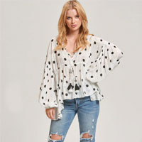 Billow Sleeve Top In Black Spot