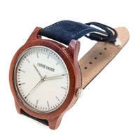 Hudson – Red Sandalwood and Blue Suede Wooden Watch