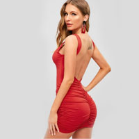 Open Back Ruched Stretchy Bodycon Mini Dress