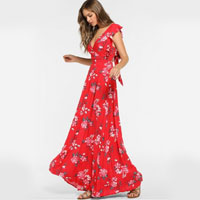 ZAFUL Boho Floral Backless Ruffled Dress