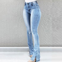 High Waist Ripped Bell-Bottom Jeans