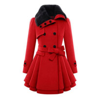 Double Breasted Turn Down Collar Coat - Red - M