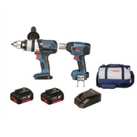 2 Piece 18V Cordless Kit Hammer Drill & Impact Wrench