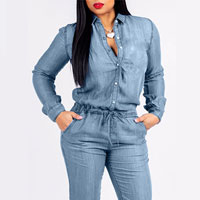 Denim Long Sleeve Pocket Drawstring Jumpsuit