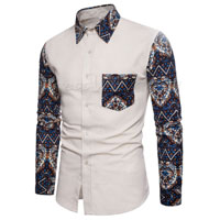 Color Block Long Sleeve Men's Shirt