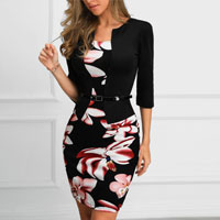 Floral Print Insert Fake Two Piece Dress