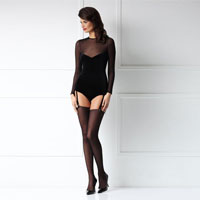 Mesh And Velvet Bodysuit