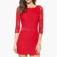 Red Lace Dress Women Bodycon