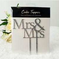Mrs & Mrs Glitter Wedding Cake Topper