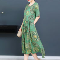 Green Ethnic Print Patchwork Short Sleeve