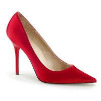 """Pleaser 4""""Heel Classique Red Satin Pump"""