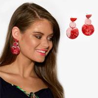 Saskia Red Flat Resin Drop Earring