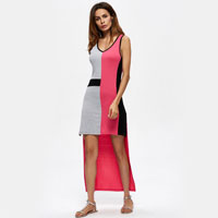 Sleeveless Irregular Hem O Neck Women Dresses