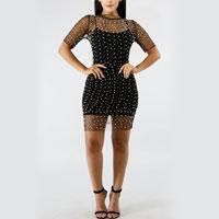 Shiny Embellished Sheer Mesh Dress With Bikini