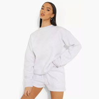 Woman Embroidered Sweater Short Tracksuit