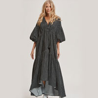 Billow Sleeve Maxi Dress In Turkish Coffee Squares