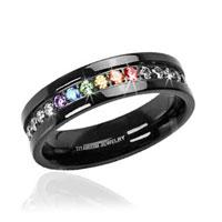 Jet Black Titanium Full Clear & Rainbow String